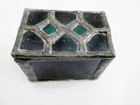 Vintage Handmade Mini STAINED GLASS CHEST Trinket Lead Box Jewelry Display Primitive