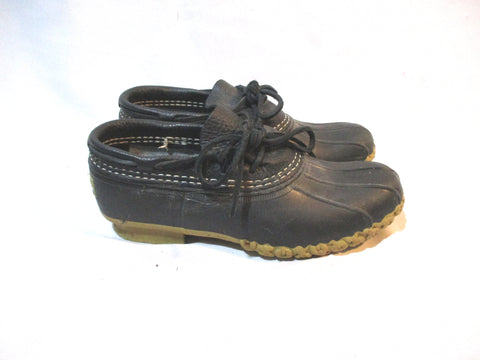L.L. BEAN Boots Maine Rain Snow DUCK Leather BLACK Boot 6 Waterproof Rubber