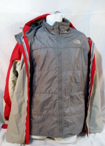 MENS THE NORTH FACE HYVENT Jacket Coat Parka GRAY RED XL Hood Winter Snow