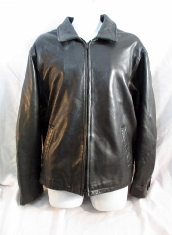 KENNETH COLE REACTION LEATHER jacket Moto Riding Coat BLACK L G Mens