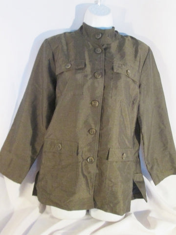 NEW LINEA BY LOUIS DELL'OLIO Military Style Jacket Button Top Hipster S OLIVE GREEN