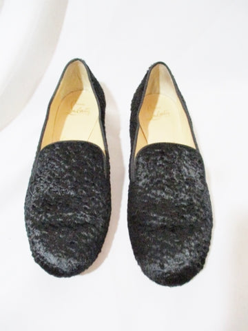CHRISTIAN LOUBOUTIN FLAT PONY SHOE 36.5 / 6 BLACK ASTRAKAN Loafer
