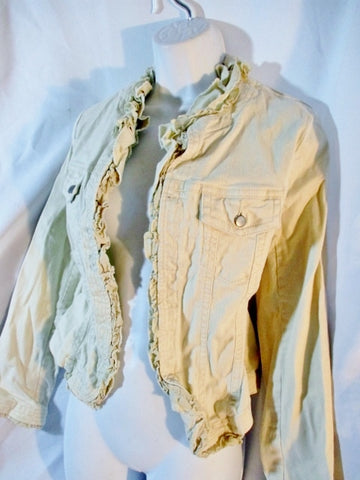 LOUIE Anthropologie Ruffled VICTORIAN Jacket Coat Steampunk 6 Creme Denim Beige