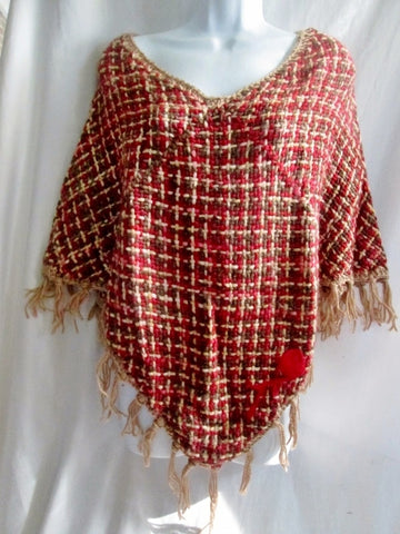 New ATELIER ADONAY Handmade LOOM Poncho Cape Jacket Hippie RED BROWN OS FRINGE Ethnic