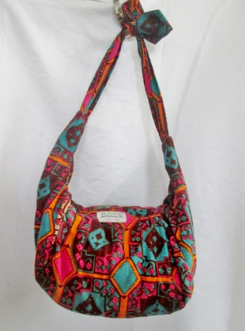 An ORIGINAL BY NOLBA ARANGO vegan cloth hobo satchel shoulder sling bag ORANGE RED BLUE