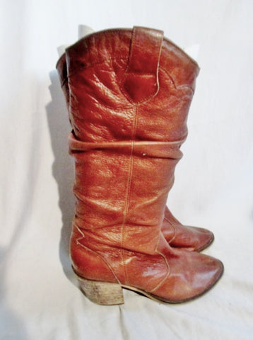 Womens STEVE MADDEN LEATHER Cowboy Slouch BOOT WESTERN BROWN 8.5 Boho