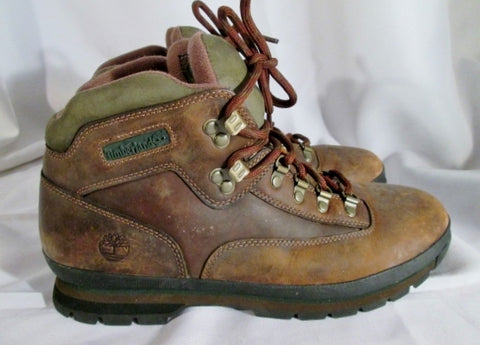 Mens TIMBERLAND 95100 WATERPROOF EURO HIKER Leather Boot 11.5 BROWN GREEN Trek