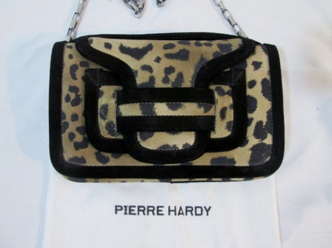 NEW PIERRE HARDY ALPHA SAC Clutch Shoulder Purse Bag Suede LEOPARD Leather Flap