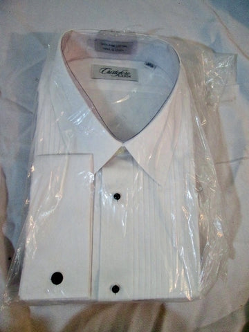 NEW Mens CRISTOFORO CARDI Pleated Tuxedo Shirt WHITE 19.5 - 34/35 Dress Formal
