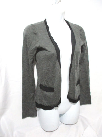 CHRISTOPHER KANE CASHMERE SILK Cardigan Sweater M GRAY BLACK