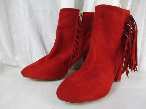 Womens NY & CO. FRINGED Faux SUEDE Leather BOOTS Shoes Booties MEDIUM ORANGE RED 7