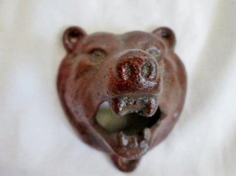 Vintage Retro Style Cast Iron GRIZZLY BEAR Face Wall Mounted Bottle Opener