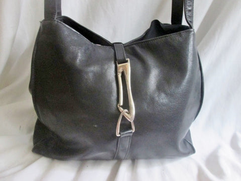 HIGH FASHION CANADA leather satchel shoulder bag BLACK tote carryall SILVER MOD