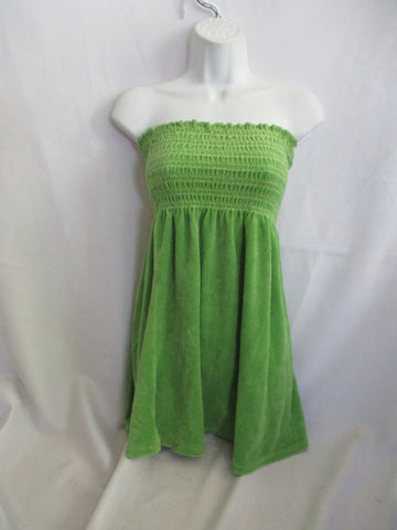 JUICY COUTURE TERRYCLOTH TUBE TOP Sleeveless Shirt GREEN M Beach Coverup