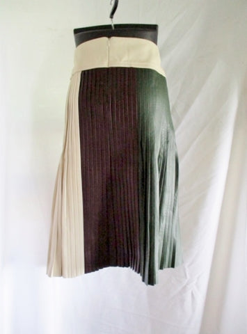 NWT New CELINE SOFT NAPPA Tricolor LEATHER Pleated SKIRT 36 4 Womens