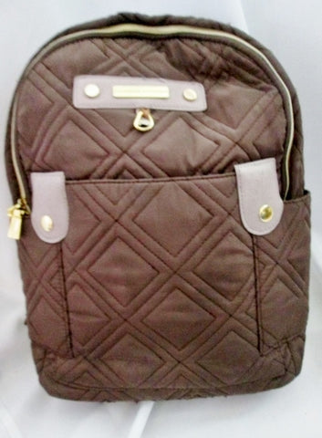 ADRIENNE VITTADINI Quilted Rucksack Daytripper BACKPACK BAG TRAVEL Bag BROWN Stud