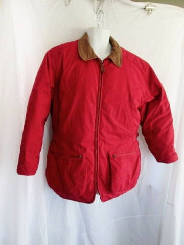 Womens EDDIE BAUER Down JACKET Coat RED Leather M Cotton Pockets Field Barn