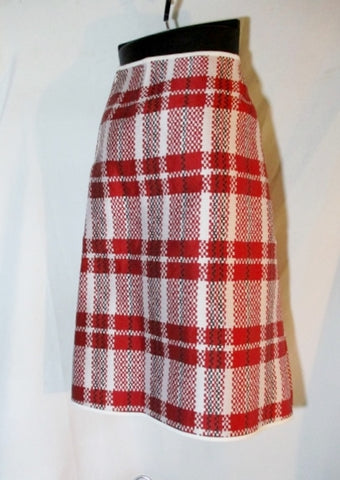 NEW NWT CELINE HONG KONG CARRIAGE BAG PLAID SKIRT 38 / 6 BLACK WHITE RED