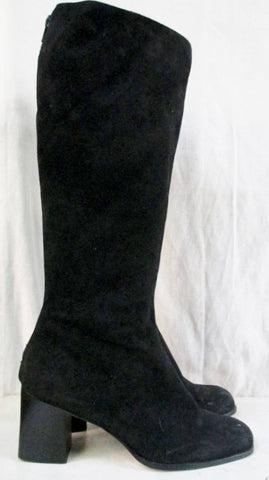 NINE WEST Knee High Suede LEATHER RIDING BOOTS Shoes Industrial BLACK 10