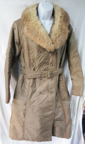Vtg Womens BROMLEIGH FUR collar long jacket rain coat parka BROWN 10 M