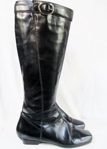 Womens CLAUDIA CIUTI Knee High Leather Moto Riding Boot Rocker BLACK 6.5 Shoe