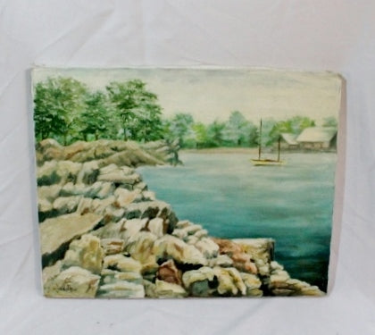 Signed Original Vintage PAINTING ART Lake Water Boat Rock Tree GREEN BLUE