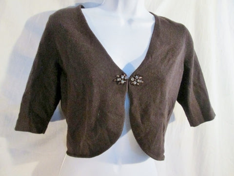 NEW NWT ANN TAYLOR BOLERO Jacket Cardigan Sweater S BROWN RHINESTONE Glam