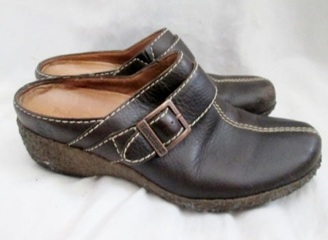 Womens TIMBERLAND COMFORIA Leather Clogs Shoes Slip-On Wedge Heel 6.5 BROWN 61379