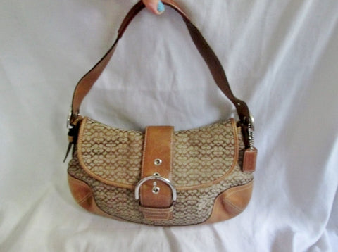 COACH 6808 Signature OP Jacquard Hobo Handbag Satchel Canvas COGNAC BROWN Leather