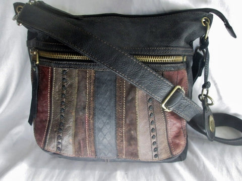 FOSSIL leather messenger satchel shoulder crossbody bag PATCHWORK BROWN KEY M