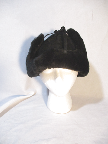NEW H&M Aviator Fur Hat Cap Trooper Flap Russian BLACK Cossack Trapper Cosplay