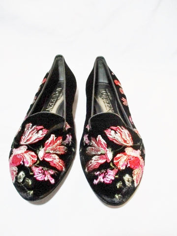 NEW ALEXANDER MCQUEEN EMBROIDERED FLORAL FLAT Shoe 36 6 BLACK Womens