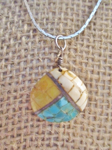 "16"" MOSAIC SHELL SILVER BLUE SOUTHWEST Pendant NECKLACE Charm Chain"