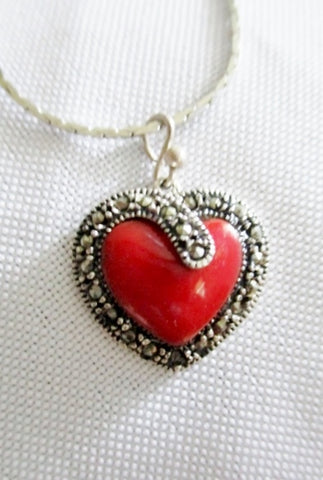 STERLING SILVER MARCASITE CARNELIAN HEART Necklace Noveau Deco Jewelry