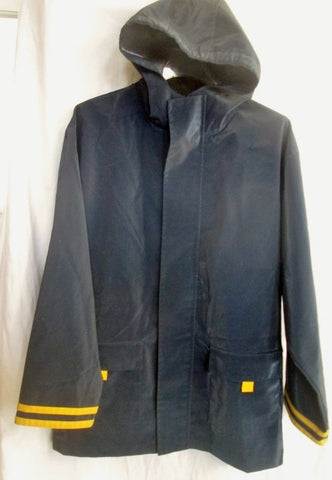 New Youth FRENCH TOAST PREP Raincoat Rain Jacket Coat Hood BLUE YELLOW 16 Boys Girls