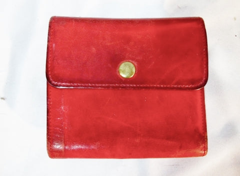 COACH Leather Bifold Change Purse Wallet Pouch RED Card Organizer Snap Compact
