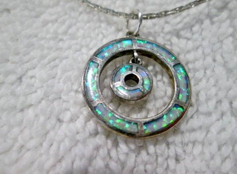 "18"" STERLING SILVER OPAL HOOP LOOP Tiny Pendant NECKLACE Charm Choker"