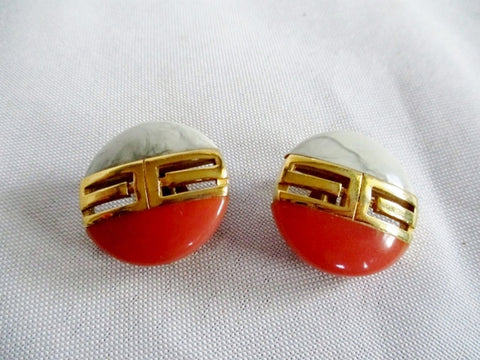 Vintage 1978 GIVENCHY PARIS NY Button EARRING Set Clip On GOLD PINK GRAY Button