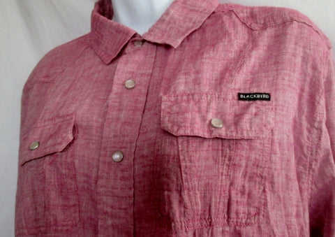 Womens BLACKBYRD Snap Up Rockabilly Retro Shirt MAUVE PURPLE L Bowling