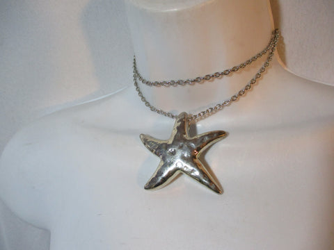 "25"" Hammered SILVER STARFISH SEA STAR Mermaid NECKLACE Pendant Jewelry"