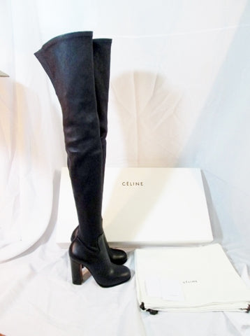 NEW Womens CELINE PARIS Leather Thigh High Boot 105 ITALY 36 6 NAVY BLUE