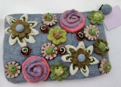New RISING TIDE Boiled Wool Felt Clutch Purse Evening Bag GRAY FLOWER FLORAL Textured