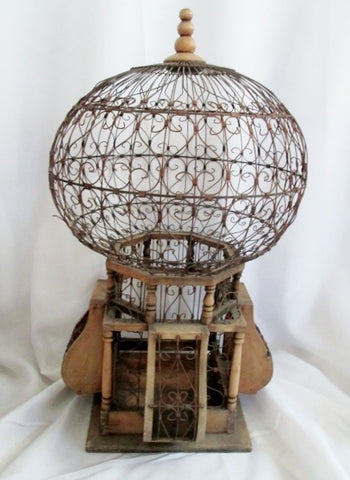 "Large 27X14"" Handmade WOOD WIRE Art BIRD CAGE BIRDCAGE Display Jewelry Stand"