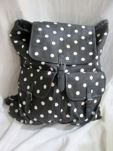 NEW CANDIES BACKPACK Shoulder Rucksack Travel School Book BAG Vegan BLACK Polka Dot