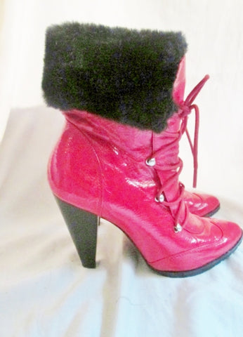 Womens TWO LIPS Vegan High Heel Ankle Boots BOOTIES 7 RED TOMATO Fur