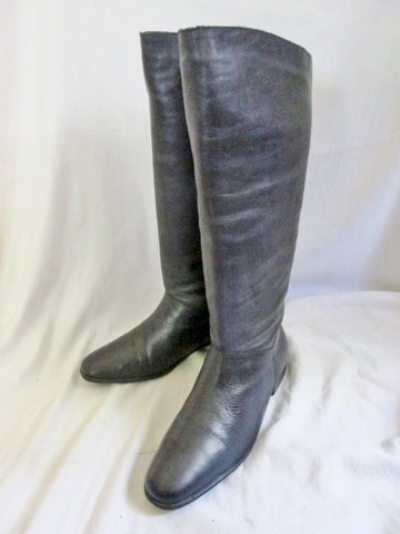 Womens WORTHINGTON Knee High LEATHER Moto RIDING BOOT BLACK 7.5