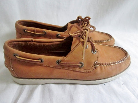 Womens L.L. BEAN Leather Moccasins Mocs Walking Boat Shoes BROWN 7.5 COGNAC
