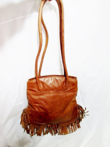 EAST WEST leather hobo tote BROWN tote purse FRINGE TASSEL Boho Festival