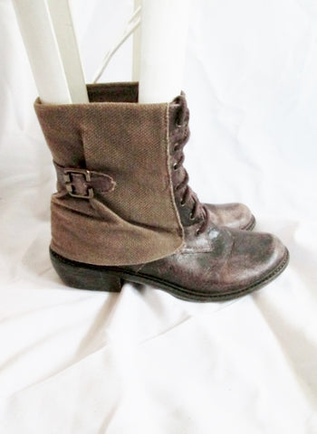 Womens MLE MIS LIMITED EDITION SHEATH Ankle Boot Bootie 7 BROWN Distressed Boho