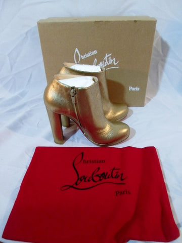 NEW NIB CHRISTIAN LOUBOUTIN ROCK GOLD CALF LAME Bootie Ankle Boot 37 6.5